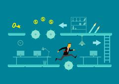 The game of business. A man jumps over obstacles - stock illustration