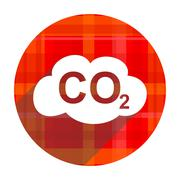 Carbon dioxide red flat icon isolated. Stock Illustration