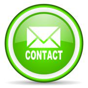 contact green glossy icon on white background - stock illustration