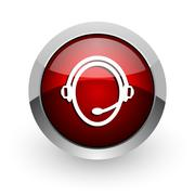 Customer service red circle web glossy icon. Stock Illustration