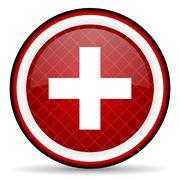 emergency red glossy icon on white background - stock illustration