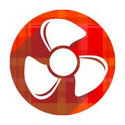 Fan red flat icon isolated. Stock Illustration