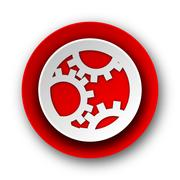 gear red modern web icon on white background. - stock illustration