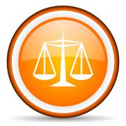 justice orange glossy circle icon on white background - stock illustration