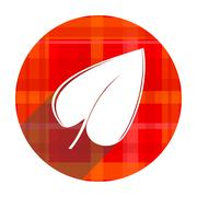 Leaf red flat icon isolated. Stock Illustration