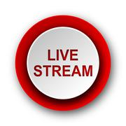 Live stream red modern web icon on white background. Stock Illustration