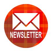 newsletter red flat icon isolated. - stock illustration