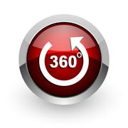 Panorama red circle web glossy icon. Stock Illustration