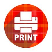 Printer red flat icon isolated. Stock Illustration