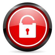 protect round red glossy icon on white background - stock illustration
