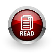 Read red circle web glossy icon. Stock Illustration