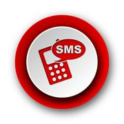 sms red modern web icon on white background. - stock illustration