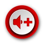 speaker volume red modern web icon on white background. - stock illustration