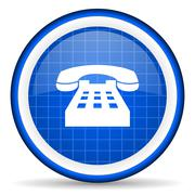 Telephone blue glossy icon on white background Piirros