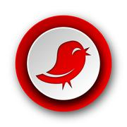 Twitter red modern web icon on white background. Stock Illustration