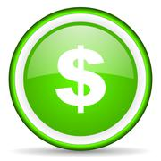 us dollar green glossy icon on white background - stock illustration