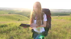 Sunshine Beautiful caucasian woman use tablet Slow motion - stock footage