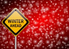 winter ahead traffic sign on snowing background - stock illustration