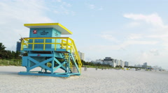 Miami Florida South Beach Lifeguard Stand 5K Stock Video Footage Stock Footage