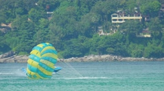 Parasailing, unsuccessful attempt, splashdown Stock Footage