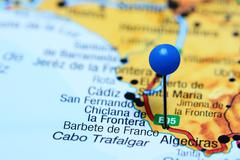 Barbete de Franco pinned on a map of Spain Stock Photos