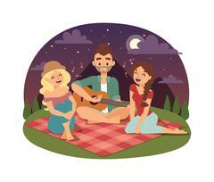 Friends picnicking summer vector Stock Illustration