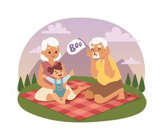 Old people family picnicking summer vector - stock illustration