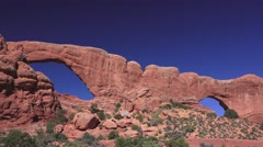 "ARCHES NATIONAL PARK,""Double Arches"". pan Stock Footage"