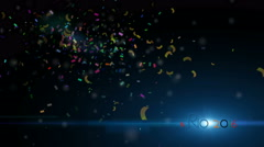 Rio 2016 with light effect,  Multicolored Confetti  particle background. Stock Footage