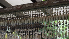 Seashells accessories hanging on the ceiling Stock Footage