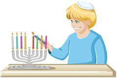 A Boy Lights A Hanukkiah Candle - stock illustration
