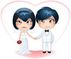 Groom And Bride Getting Married - stock illustration