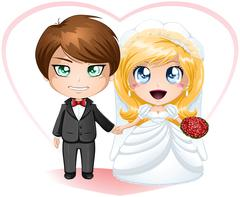 Bride and Groom Getting Married Stock Illustration