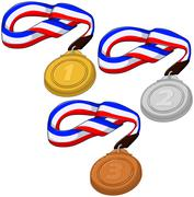 First Second and Third Place Medals Pack - stock illustration