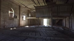 Old ruined Church interior. Steadicam shot. Smooth motion. - stock footage