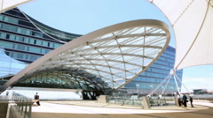 Denver Airport commuter rail station in the Summer. Stock Footage