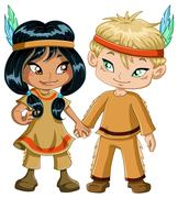 Indian Boy And Girl Holding Hands For Thanksgiving Stock Illustration
