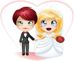 Lesbian Brides In Dress And Suit Getting Married - stock illustration