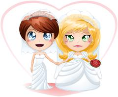 Lesbian Brides In Dresses Getting Married Stock Illustration