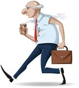 Old Businessman Walks with Briefcase and Coffee - stock illustration