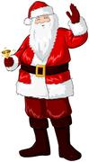 Santa Claus Holding Bell And Waving For Christmas - stock illustration