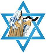 Star Of David Rabbi With Talit Blows The Shofar - stock illustration