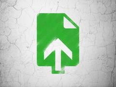 Web development concept: Upload on wall background - stock illustration
