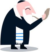 Rabbi With Talit Blows The Shofar - stock illustration