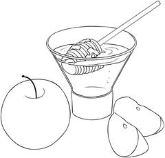 Rosh Hashanah Honey With Apples Coloring Page Stock Illustration
