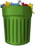 Trash Can with Trash Inside Stock Illustration