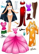 Asian Girl Princess Dress Up Stock Illustration