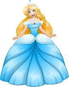 Blond Princess In Blue Dress Stock Illustration