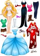 Blond Girl Princess Dress Up - stock illustration