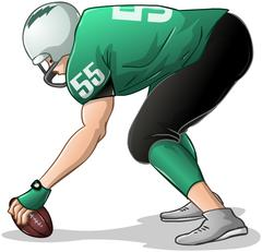 Football Player Kneels and Holds Ball Side View - stock illustration